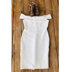 Bisou Bisou all white white gold accent dress.